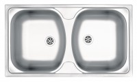 European Made Techno 2 Bowl Stainless Steel Sink w/o Drainer