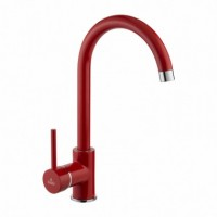 Milin Red standing sink mixer with U spout